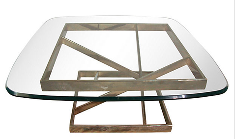 Mid Century, vintage Glass Top Sculptural Coffee Table