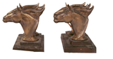 Mid Century Brass Double Horse Head Bookends