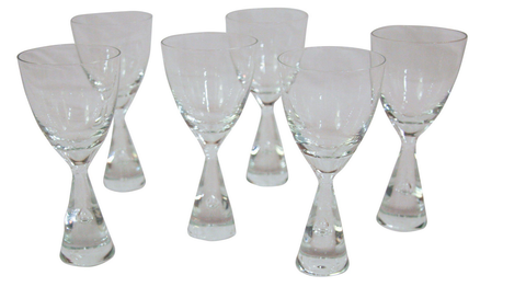 Set of  6 Mid Century Holmegaard Princess Scandinavian Wine Glasses