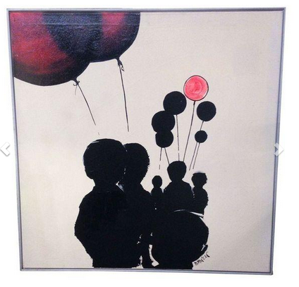 Mid Century Oil on Canvas - Balloons