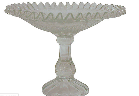 Vintage cut glass compote dish