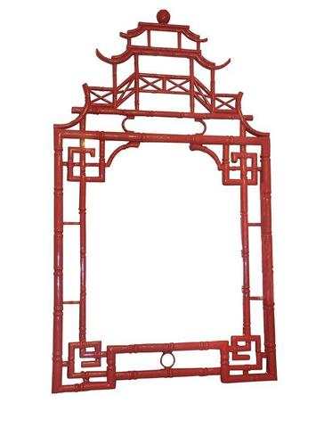 "Huge 54"" H Red Chinoiserie Pagoda Mirror"