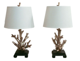 Pair Faux Coral Lamps