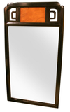 Large Asian Style Ebony and Burl Wood Mirror