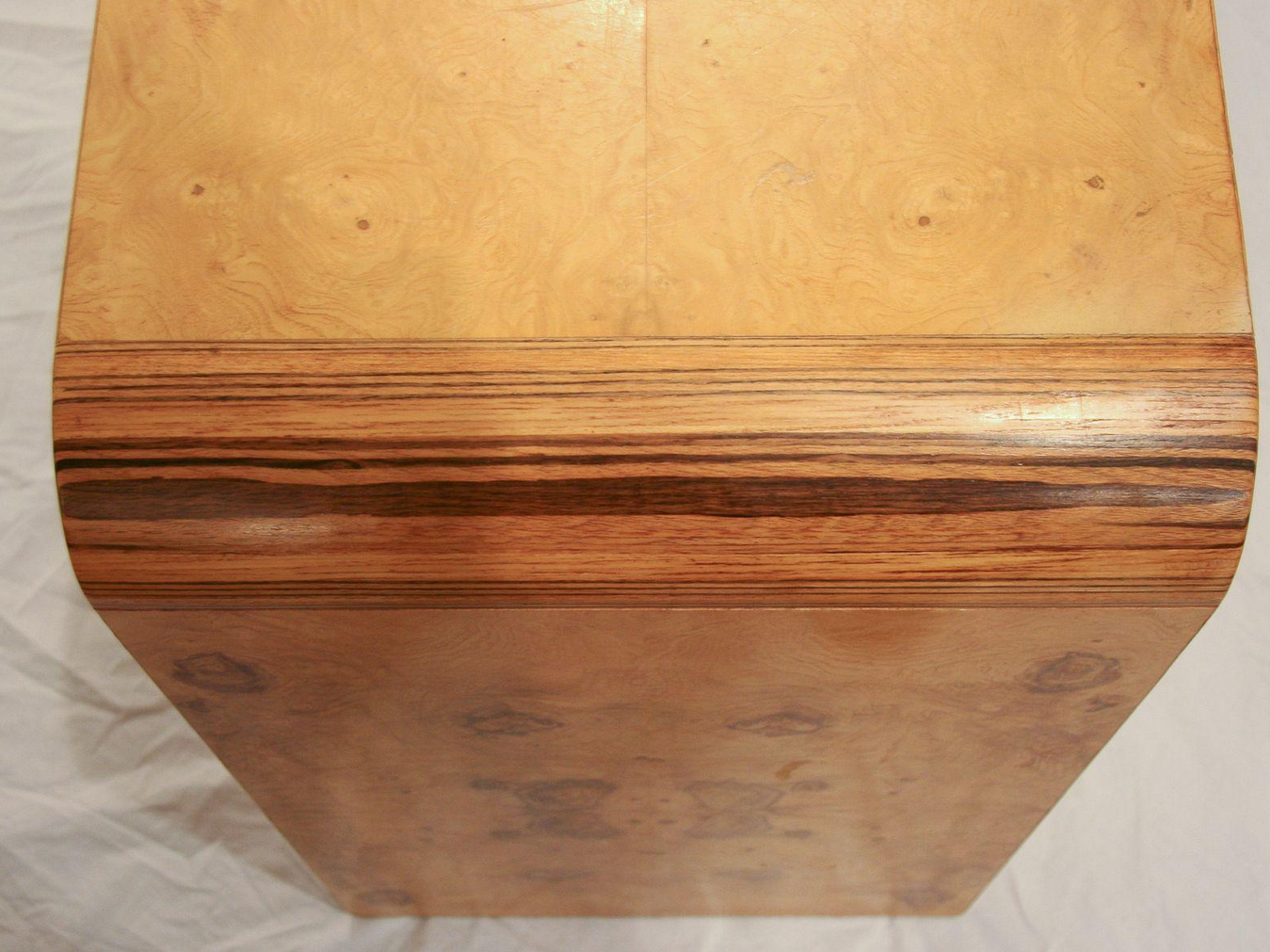 Vintage Burl Wood Waterfall Console Table