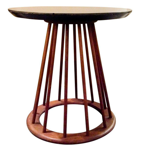 Mid Century Walnut Spindle Side Table