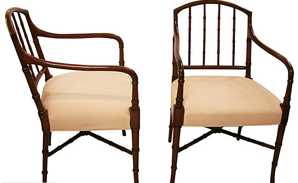 Vintage Faux Bamboo Mahogany Pair of Chairs