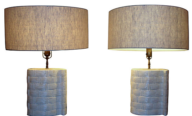 mid century ceramic basket weave pattern lamps