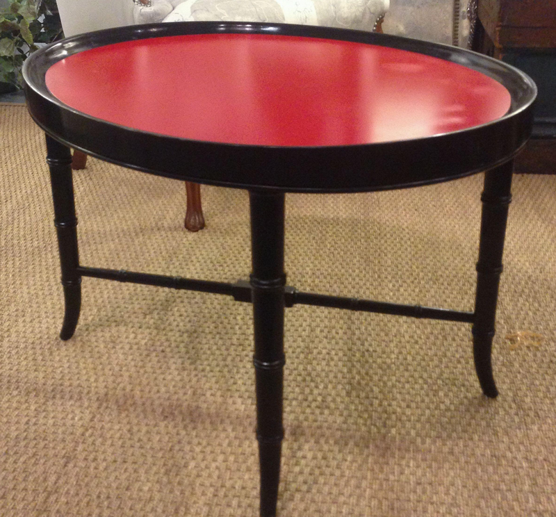 Mid Century Faux Bamboo Glass Top Side Table - Studio Lane at Reposed NY Vintage Home Decor