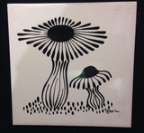 Mid Century Mushroom Tiles, Framed and signed. Studio Lane at Reposed NY Vintage Home Decor