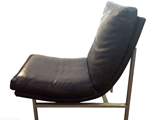 Mid Century Leather and Brushed Chrome Sling Chair