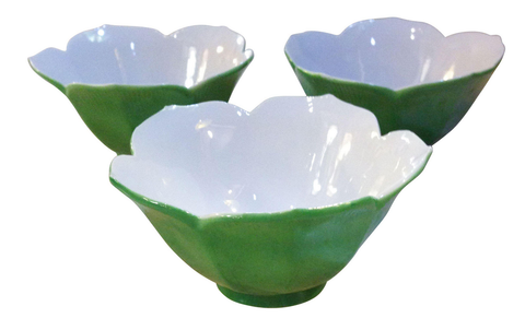 Set of 3 vintage glass green lotus dishes