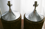 Mid Century Cork and Chrome Lamps - Studio Lane at Reposed NY Vintage Home Decor