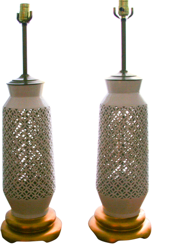 Mid century Asian ceramic reticulated lamps