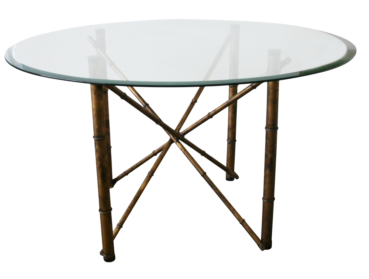 Mid Century Round Faux Bamboo Metal, Glass Dining Table Decor