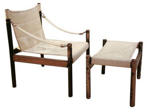 Mid Century Danish Safari Sling Chair and Ottoman