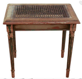 Antique French Caned Foot Stool, Small Side Table