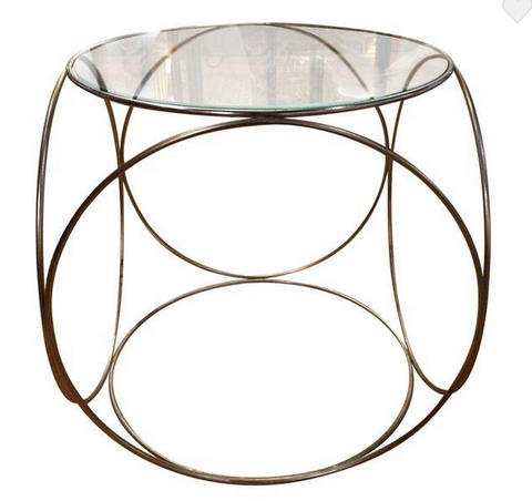 Mid Century Brass finish Circular Cube Side Table