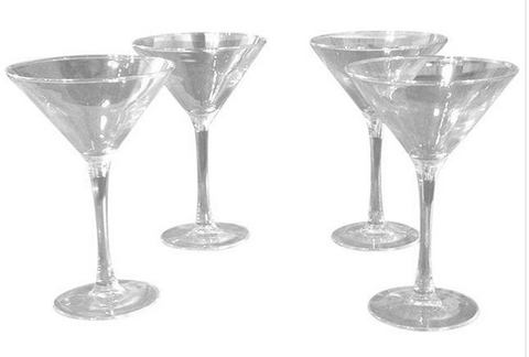 Mid Century Gold Rimmed Martini Glasses - Set of 4