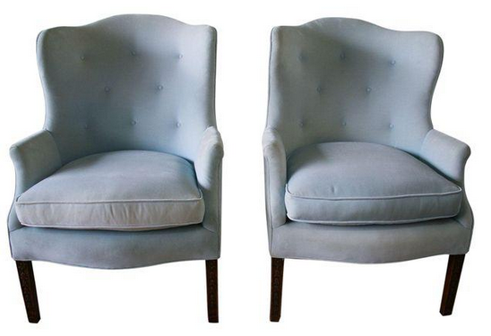 Pair, 1940's Wing Back Chairs in Velvet