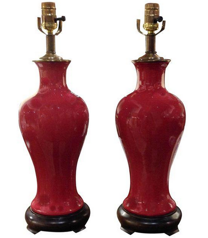 Vintage Ox Blood Asian Lamps