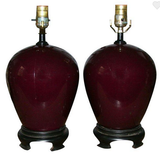 Pair, Mid Century Dark Red Wine Giner Jar Glass Lamps