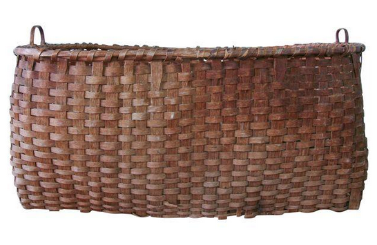 Large Antique Indian Splint Wood Feather Basket