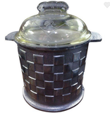 1940's Vintage Aluminum and Glass Ice Bucket