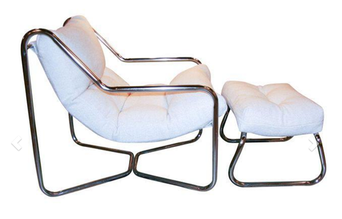 Mid Century Chrome Chair and Ottoman - Studio Lane at Reposed NY Vintage Home Decor