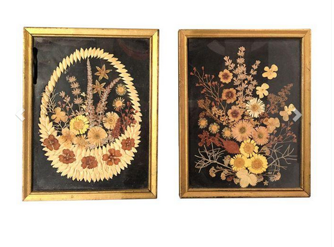 Pair, Old Botanical Floral Art Pieces