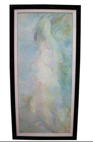 Large Mid Century Oil Painting, One of a Pair, Woman