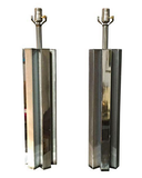 Pair, Mid Century Chrome Abstract Lamps