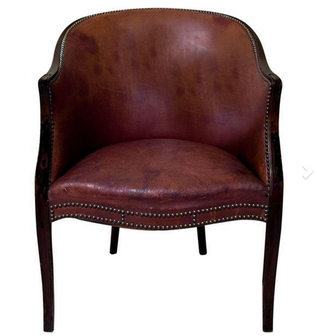 Antique French Leather Bergere Chair