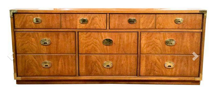 Mid Century Campaign Style Chest of Drawers - Dresser