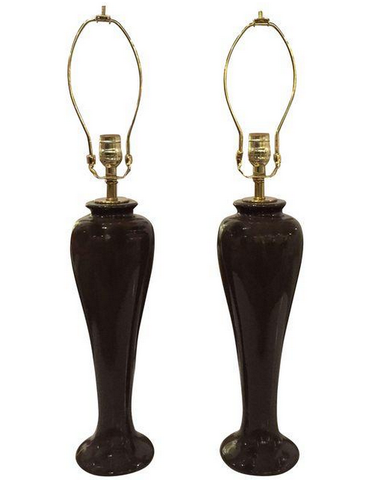 Pair, Vintage Brown Pottery Lamps