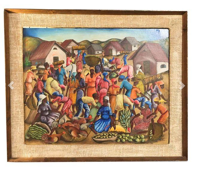 Mid Century Oil on Board - Haitian Scene