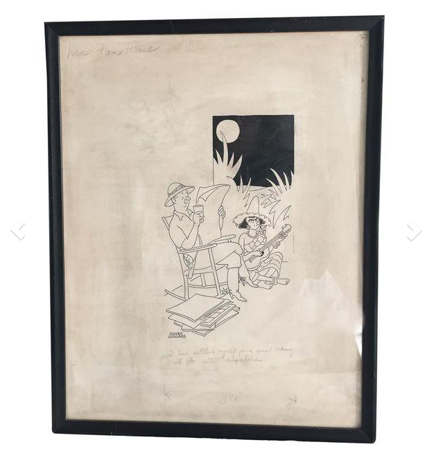 Rare Gluyas Williams Original Cartoon - framed