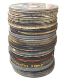 Mid Century Stacked Metal Movie Reel Cases