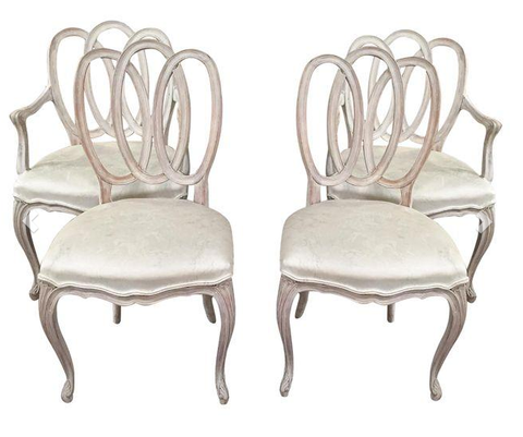 Mid Century, Set of 4, Scroll Back Chairs