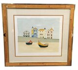 Mid Century Misted Artist Mary Faulconer - Boats Print, Signed
