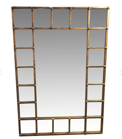 Vintage Brass Finish Squares Mirror