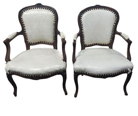 Pair, Antique French Chairs in Mid Century Off White Upholstery