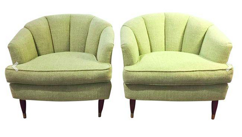 Pair, Mid Century Barrel Back Club Chairs
