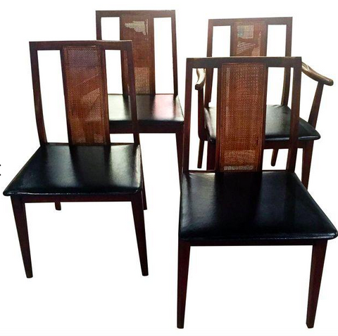 Set of 4, Mid Century Caned Back Dining Chairs