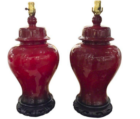 Pair, Mid Century Ox Blood Asian Ginger Jar Lamps
