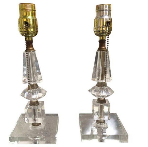 Pair, 1930's Glass Lamps