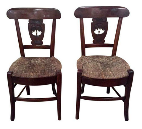 Pair, Antique Tree Carved Slat Back Chairs, Rush Seats