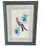 Antique Bird Painting made of Real Feathers