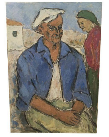 Mid Century Oil on Canvas - Man and Woman
