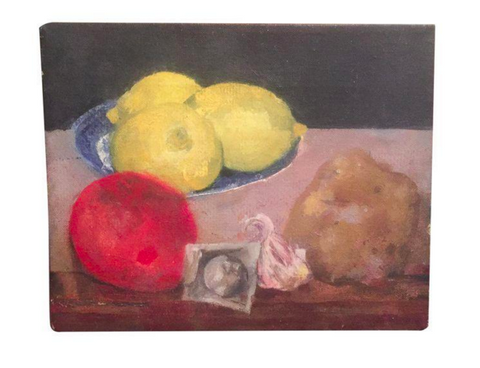 Mid Century Still Life Oil on Canvas - Fruit and Vegetables